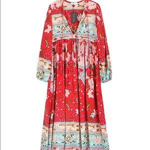 Floral printed red midi dress